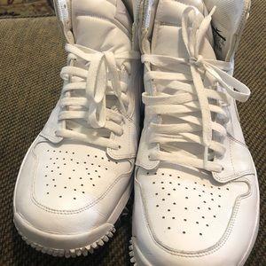 Nike Air Jordan 1Retro white leather Golf cleats